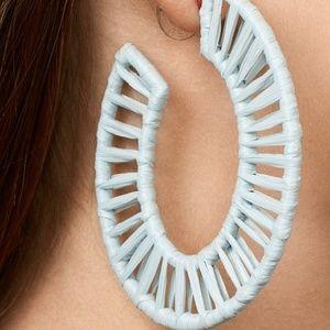 BaubleBar Jewelry - NWT! Soft Blue Raffia Hoop Earrings
